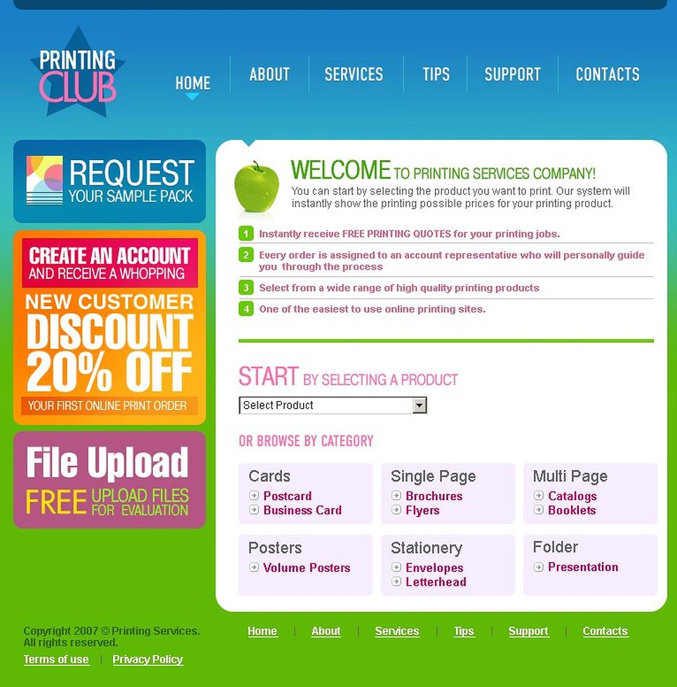 print shop website template 14638. Black Bedroom Furniture Sets. Home Design Ideas