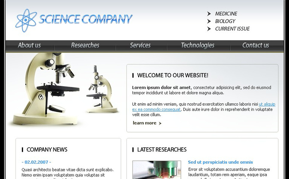 Science Website Template New Screenshots BIG