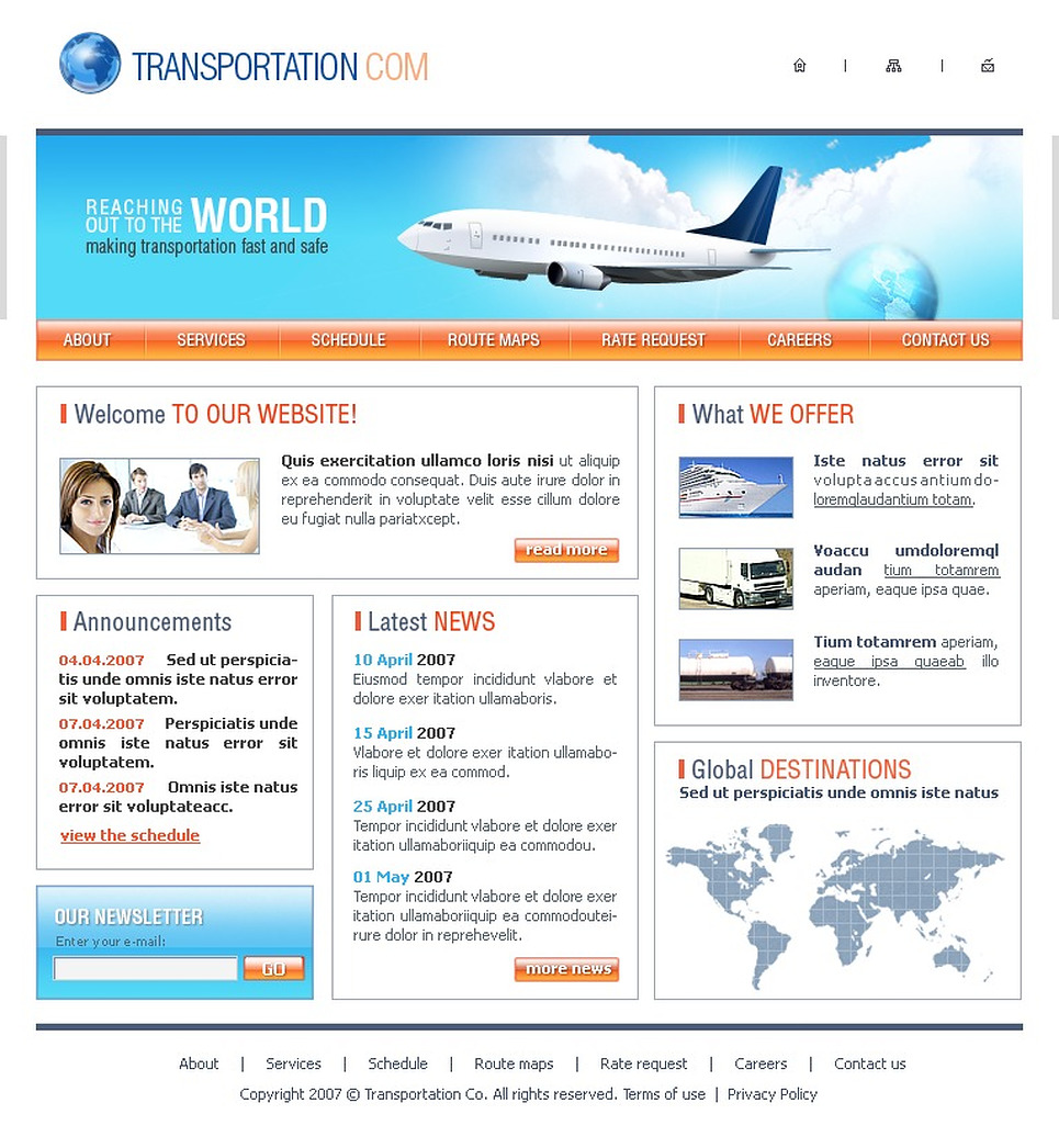 Transportation Website Template New Screenshots BIG