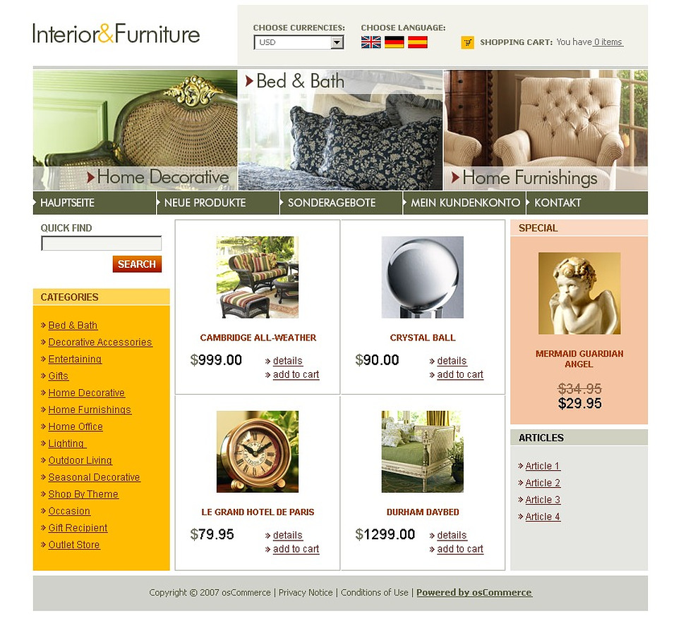 Interior & Furniture OsCommerce Template New Screenshots BIG