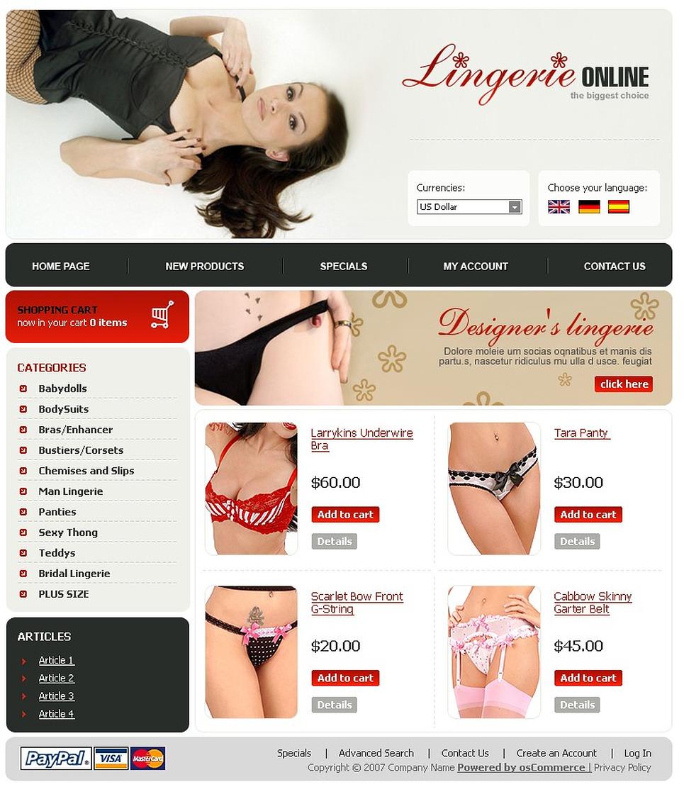 The Designer Hot Lingerie Web Store Template