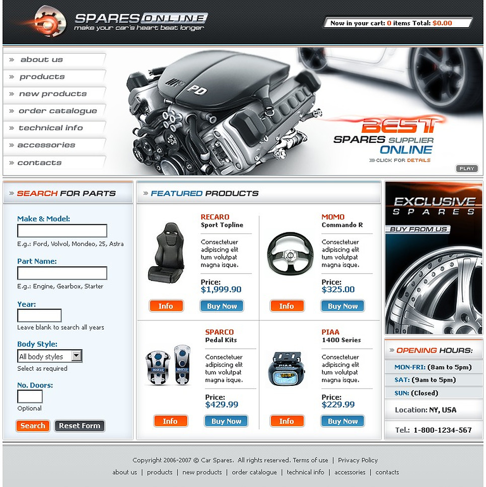 Auto Parts Website Template New Screenshots BIG