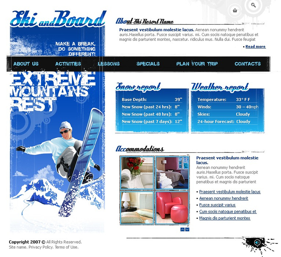Snowboarding Flash Template New Screenshots BIG