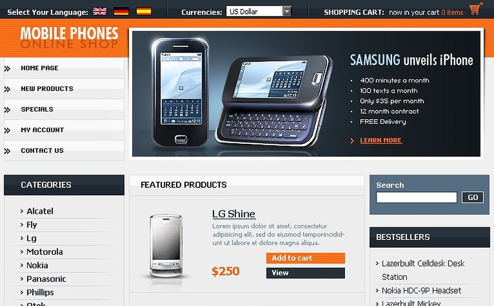 Mobile Store OsCommerce Template New Screenshots BIG