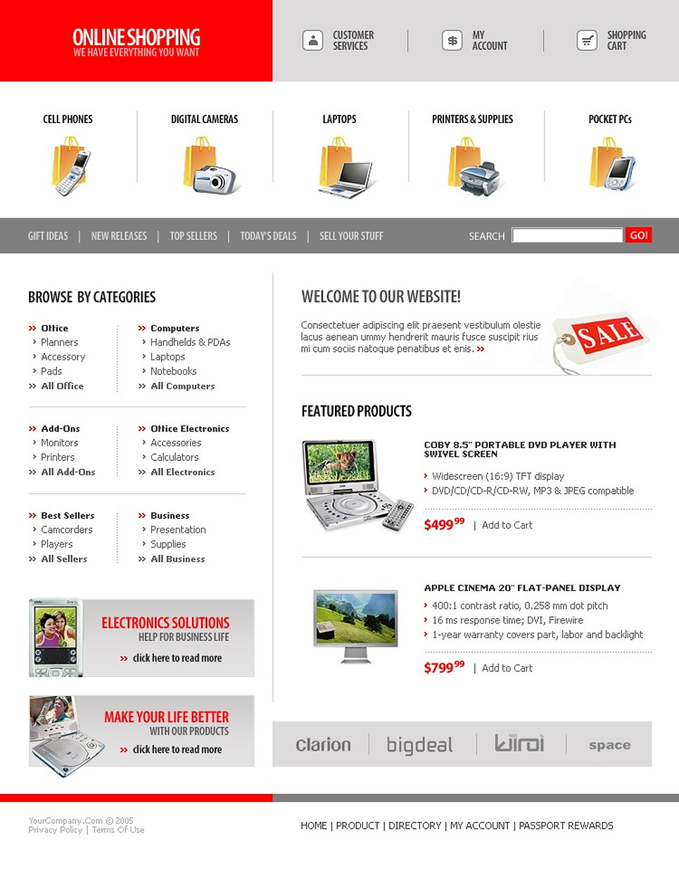 Electronics Store SWiSH Template New Screenshots BIG