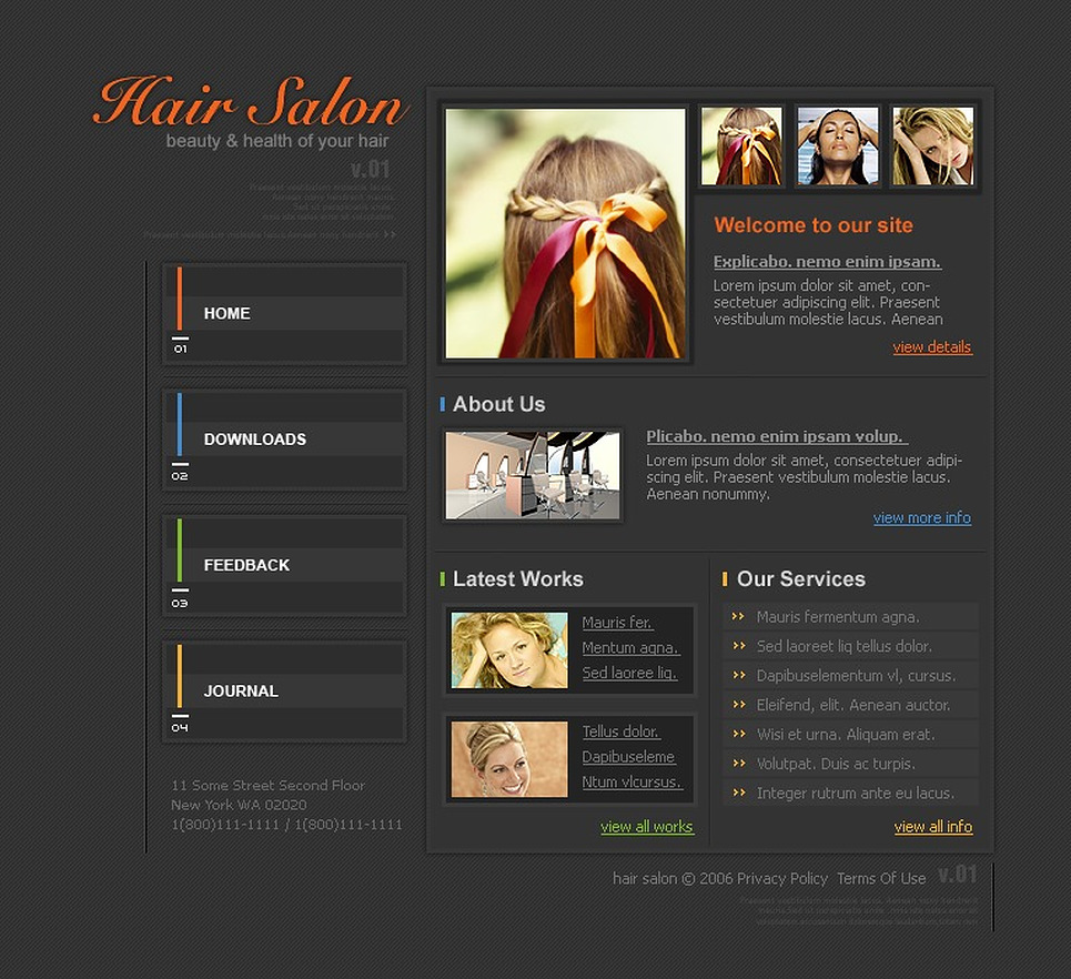 Hair Salon PHP-Nuke Template New Screenshots BIG