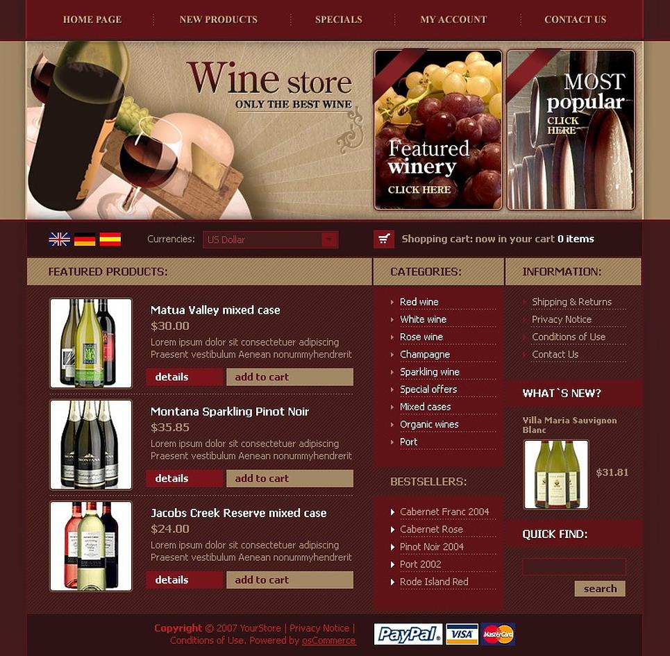 Wine OsCommerce Template New Screenshots BIG