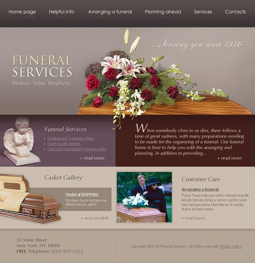 funeral services website template web design templates