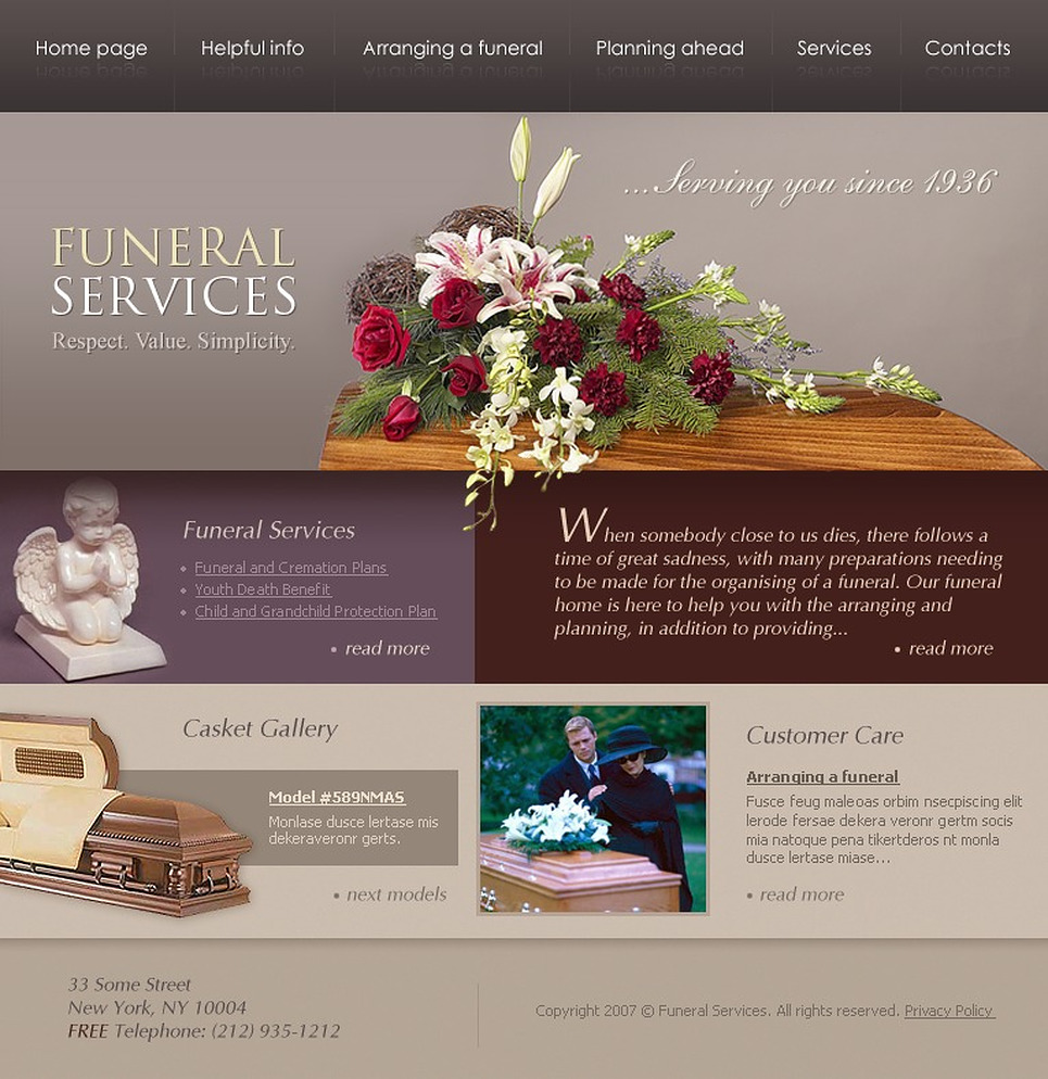 Funeral services website template 15305 - Funeral home website design ...