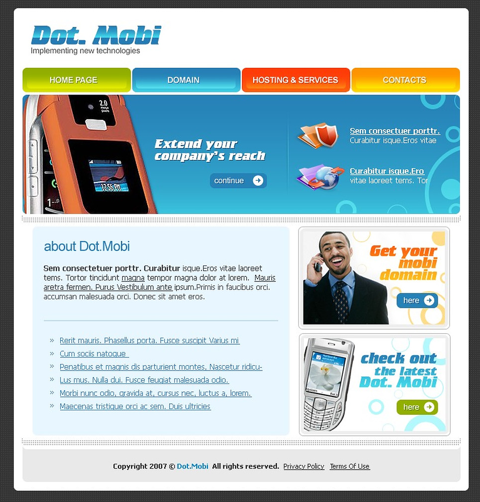 mobile company website template web design templates website templates download mobile. Black Bedroom Furniture Sets. Home Design Ideas
