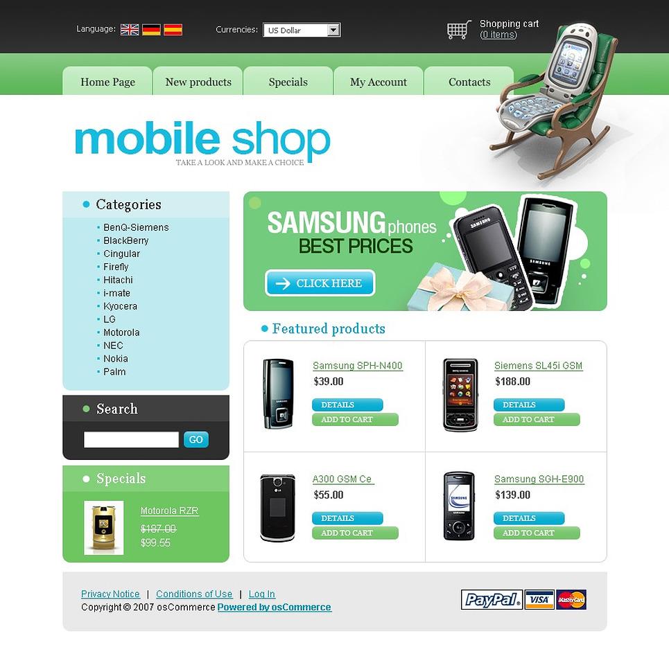 Mobile store oscommerce template web design templates for Mobile site template free download