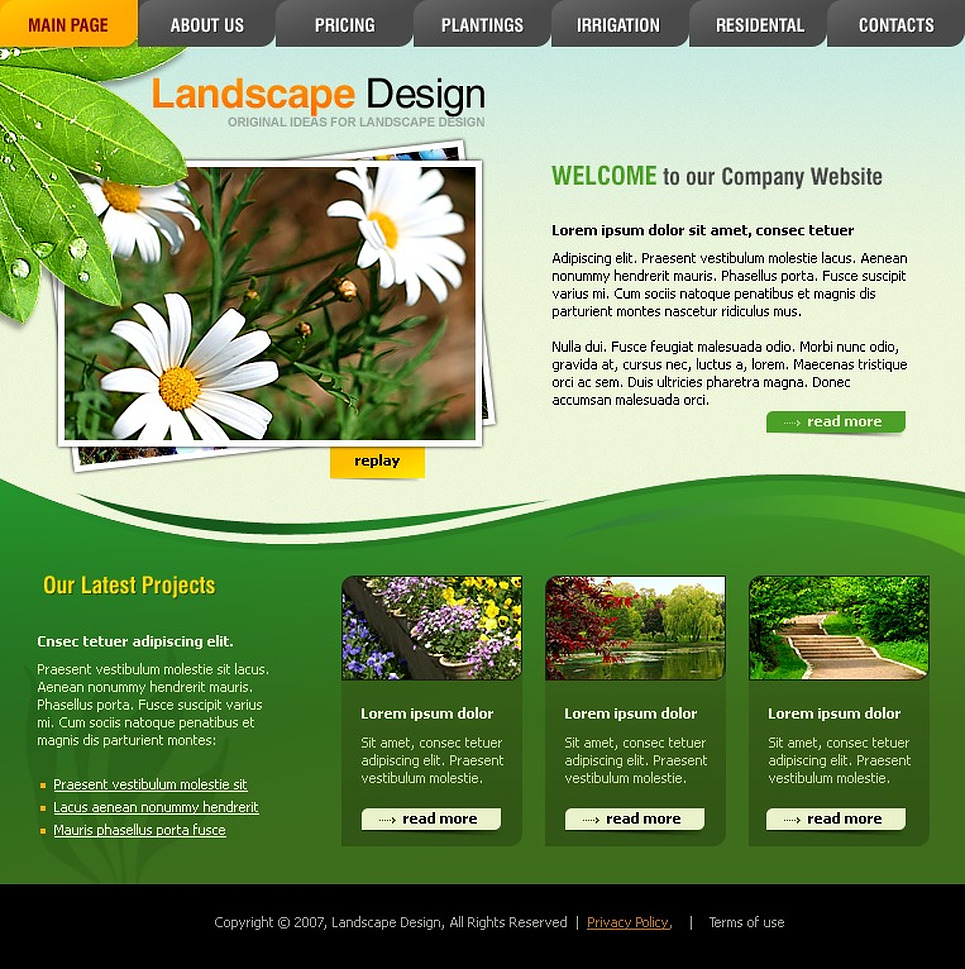 Landscape design flash template 15651 for Landscape design site