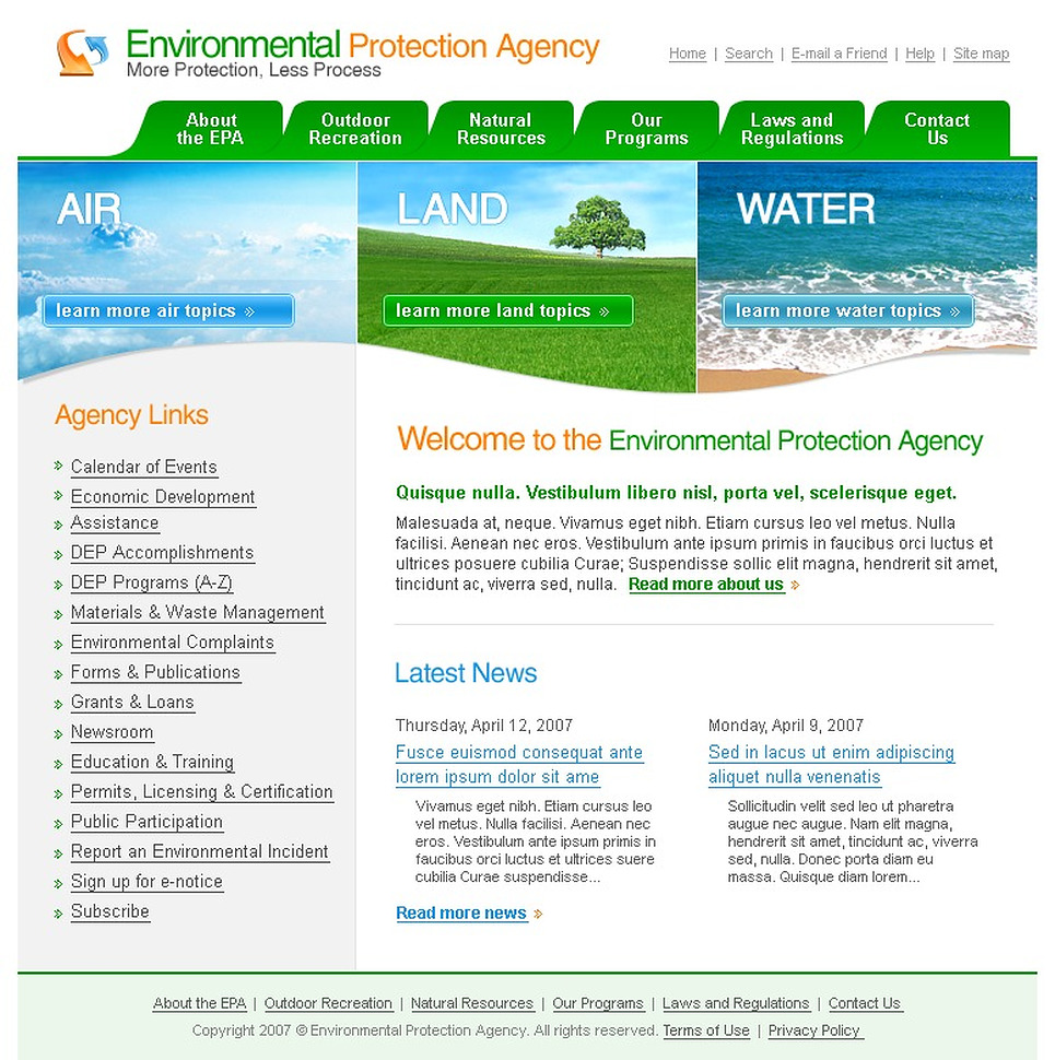 Environmental protection agency website template web design templates website templates for Environmental protection plan template