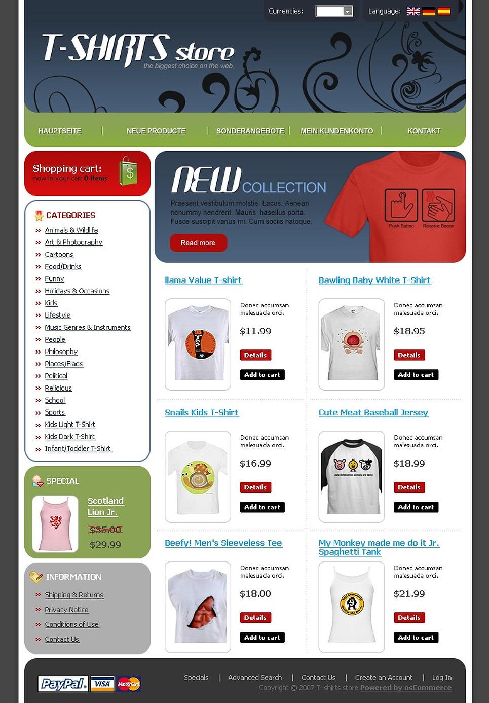 T-shirt Shop OsCommerce Template New Screenshots BIG
