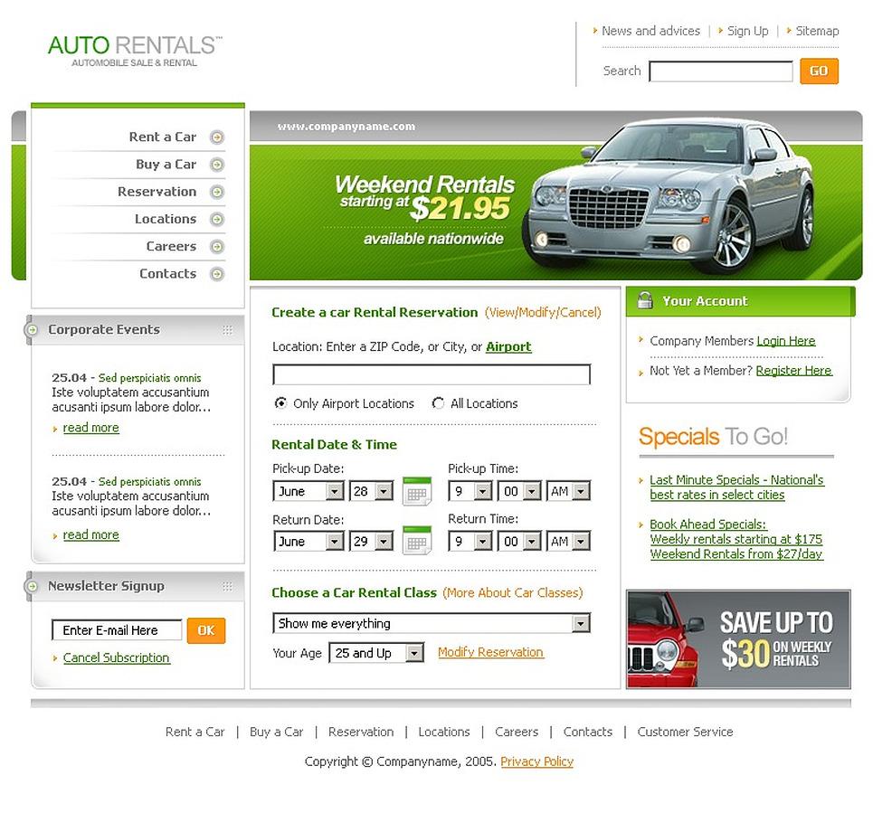 Car Rental SWiSH Template New Screenshots BIG