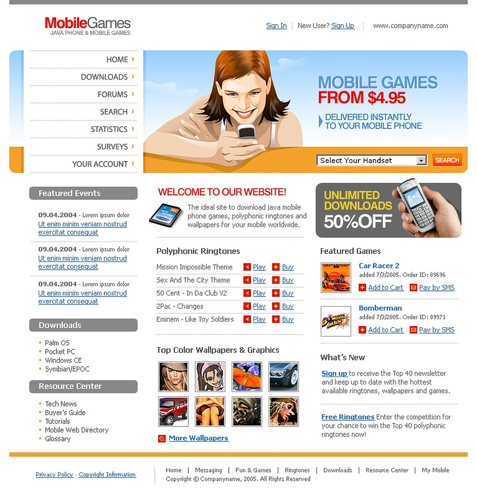 Mobile Content PHP-Nuke Template New Screenshots BIG