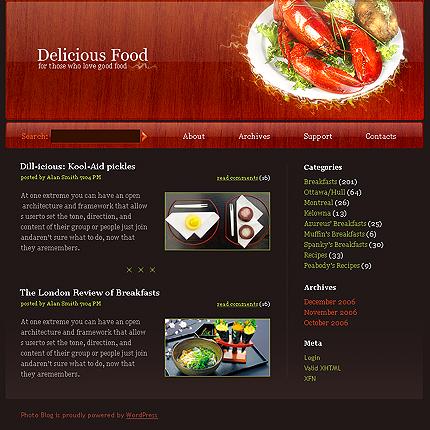 """...сайта по типу  """"Сайт визитка """" на тему  """"Еда и напитки """" по шаблону 16287."""