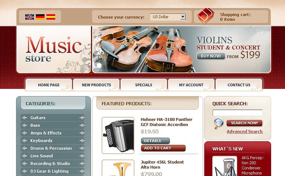 Music Store OsCommerce Template New Screenshots BIG