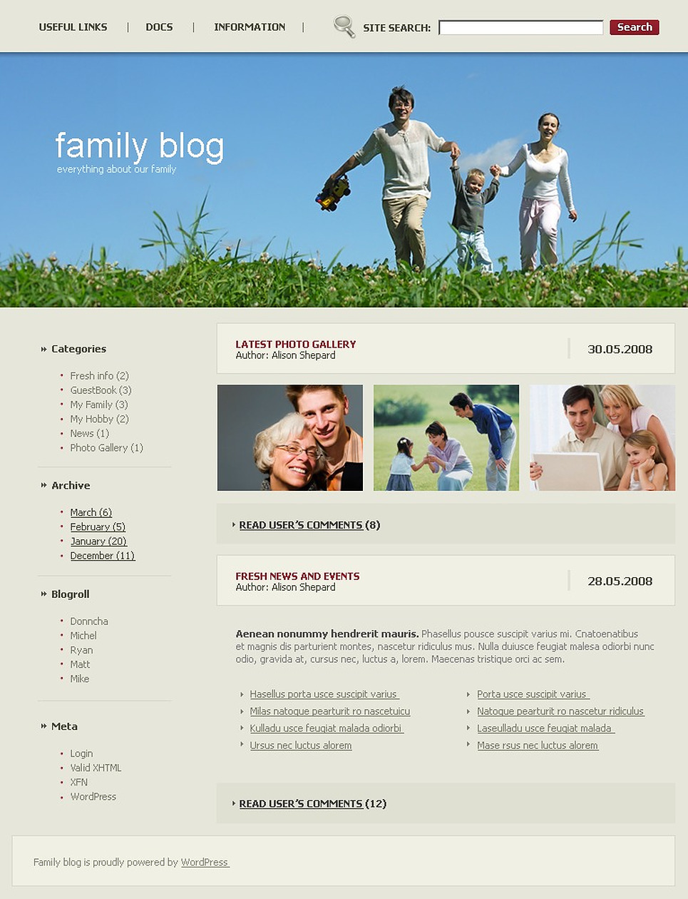 Family WordPress Theme New Screenshots BIG