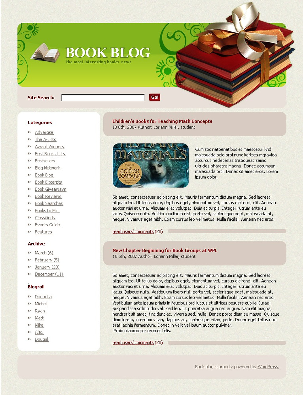 Books WordPress Theme New Screenshots BIG