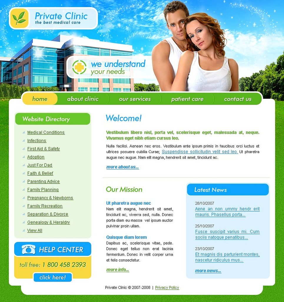 Reproduction Clinic Website Template New Screenshots BIG