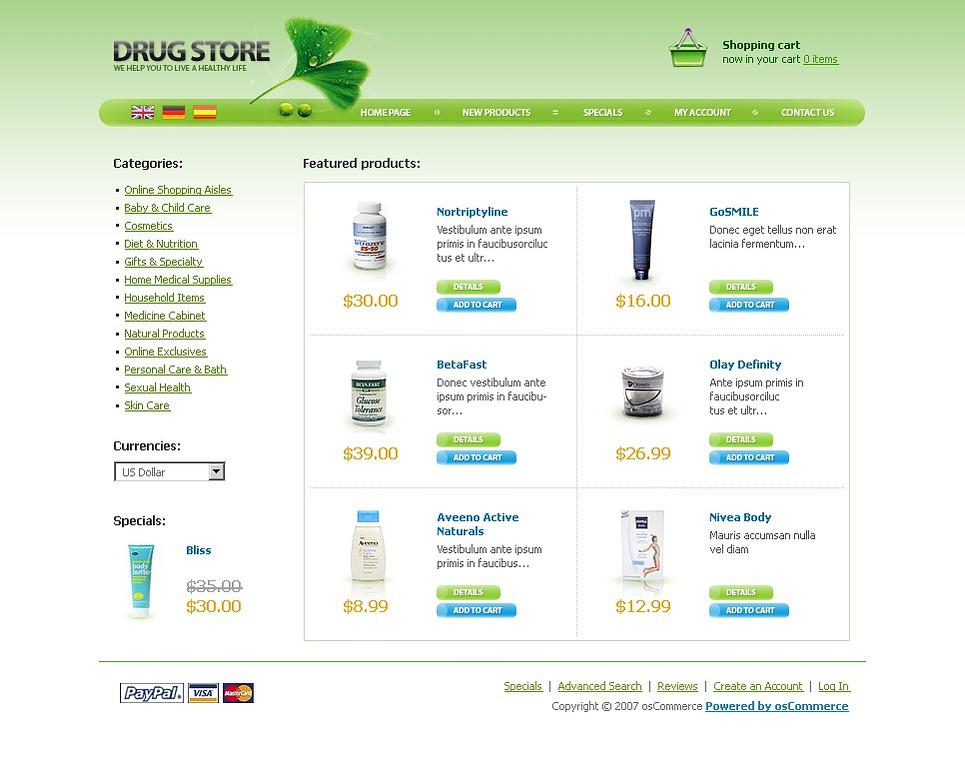 Drug Store OsCommerce Template New Screenshots BIG