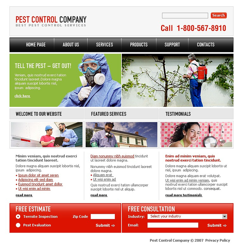 pest control website template web design templates. Black Bedroom Furniture Sets. Home Design Ideas