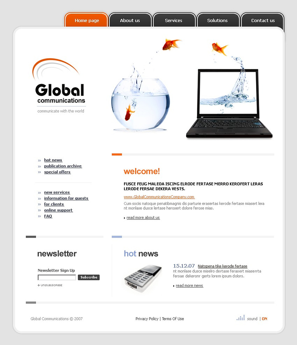 Communications Flash Template New Screenshots BIG