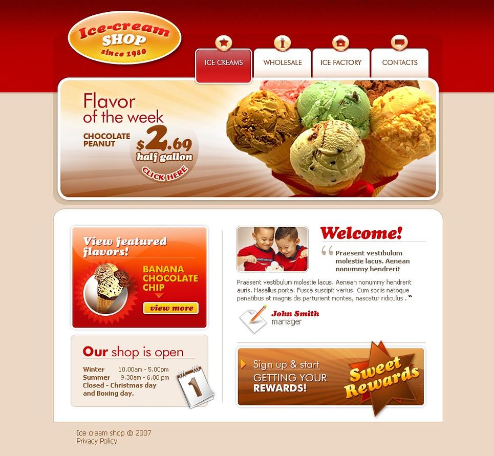 Ice Cream Package Template Ice Cream Website Template