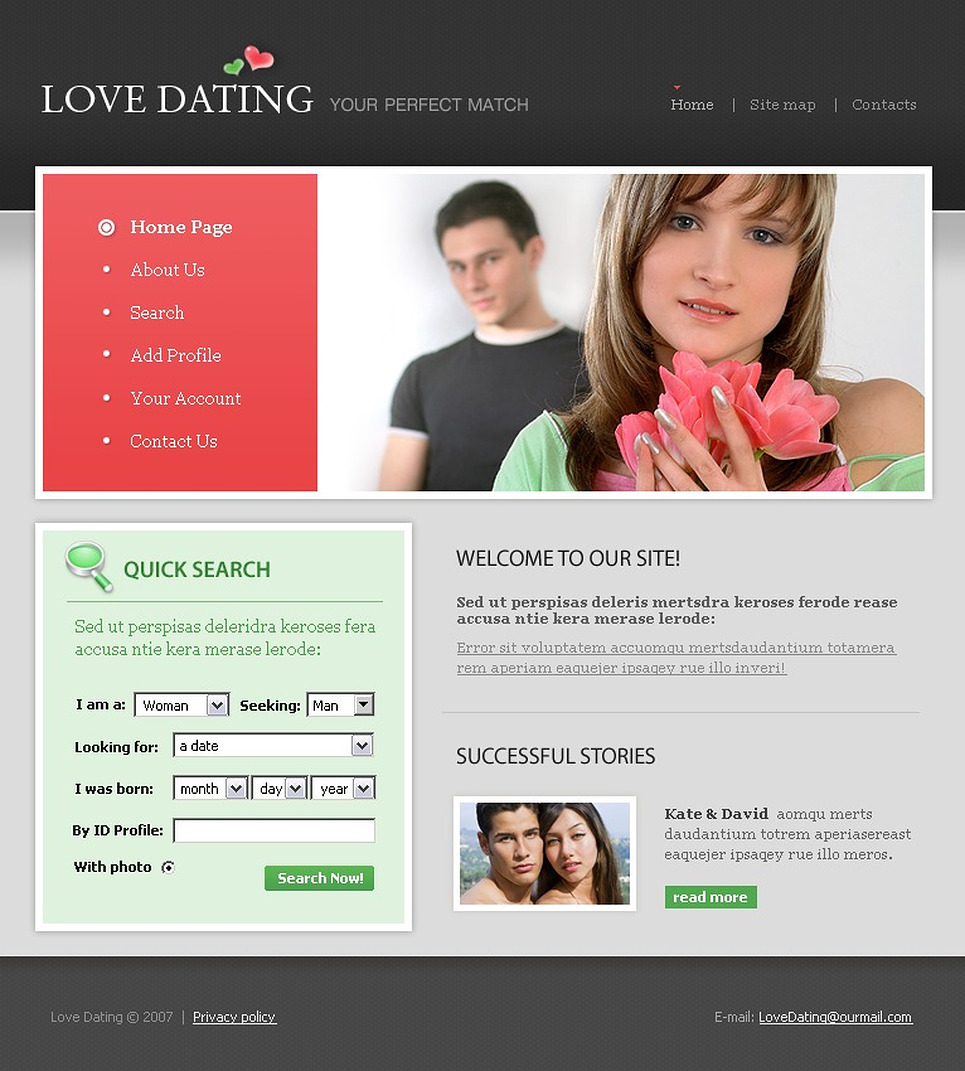 Website dating templates
