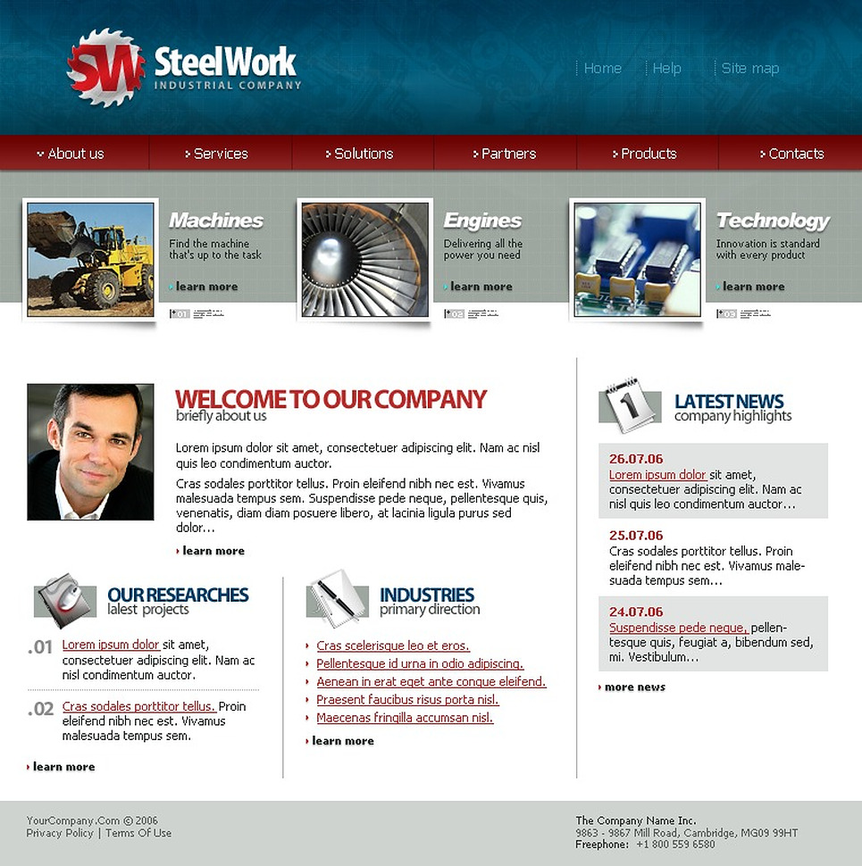 Steelworks SWiSH Template New Screenshots BIG