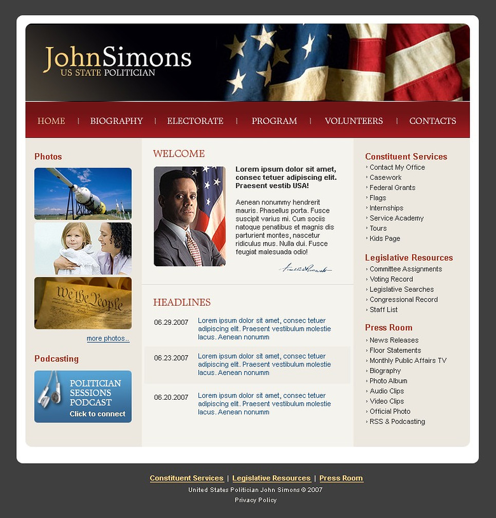 Political Candidate Website Template New Screenshots BIG