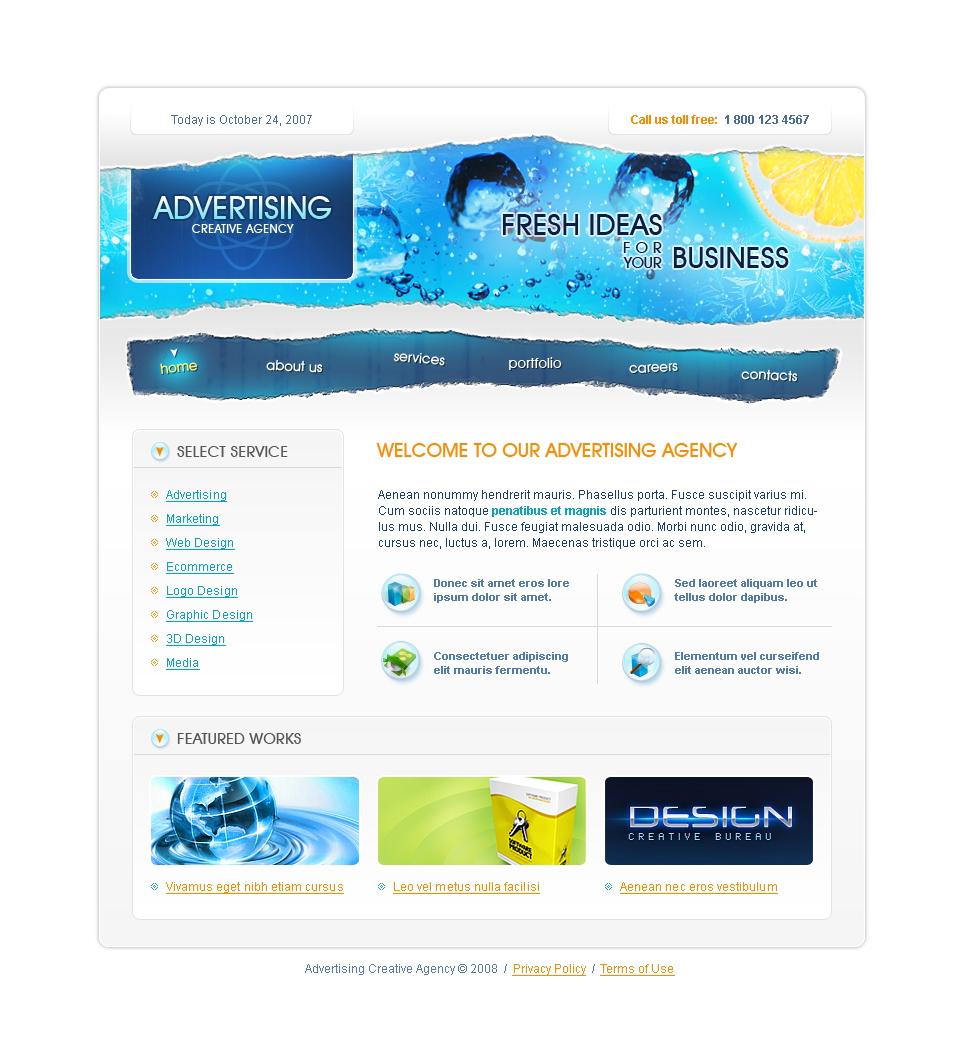 advertising agency website template 17316. Black Bedroom Furniture Sets. Home Design Ideas