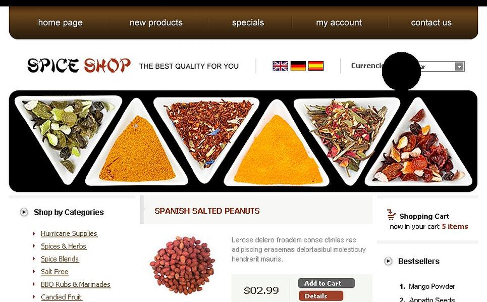 Spice Shop OsCommerce Template New Screenshots BIG