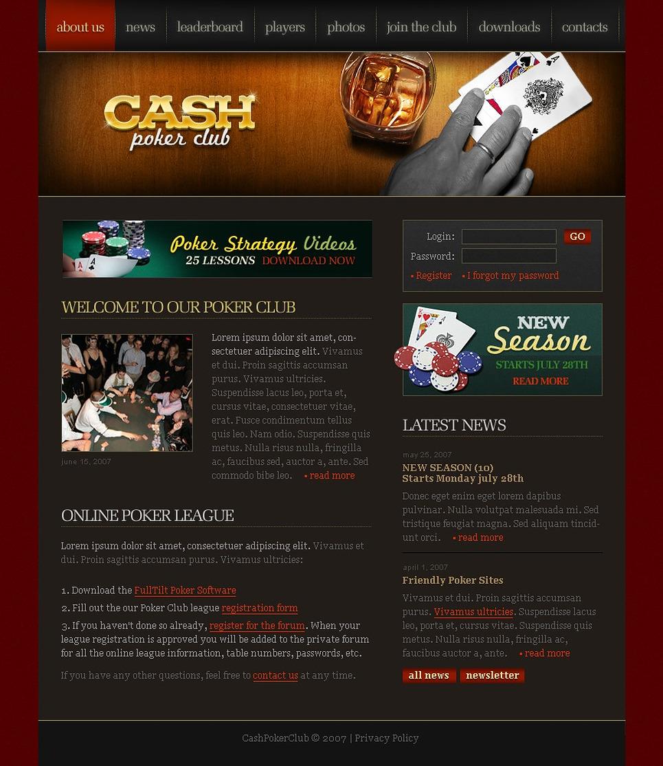 Online Poker Website Template - Web Design Templates, Website