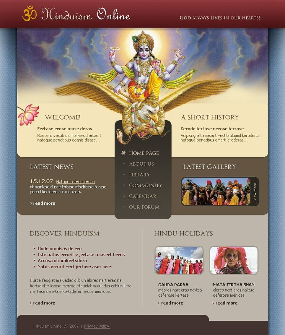 Hinduism Website Template New Screenshots BIG