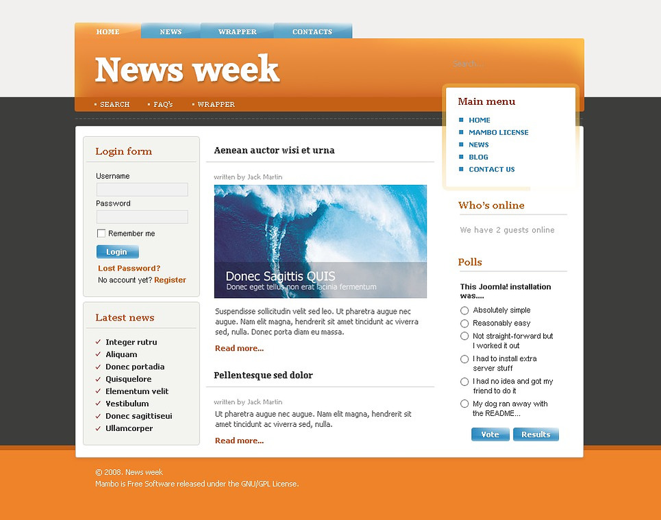 news site template free download - news portal joomla template web design templates