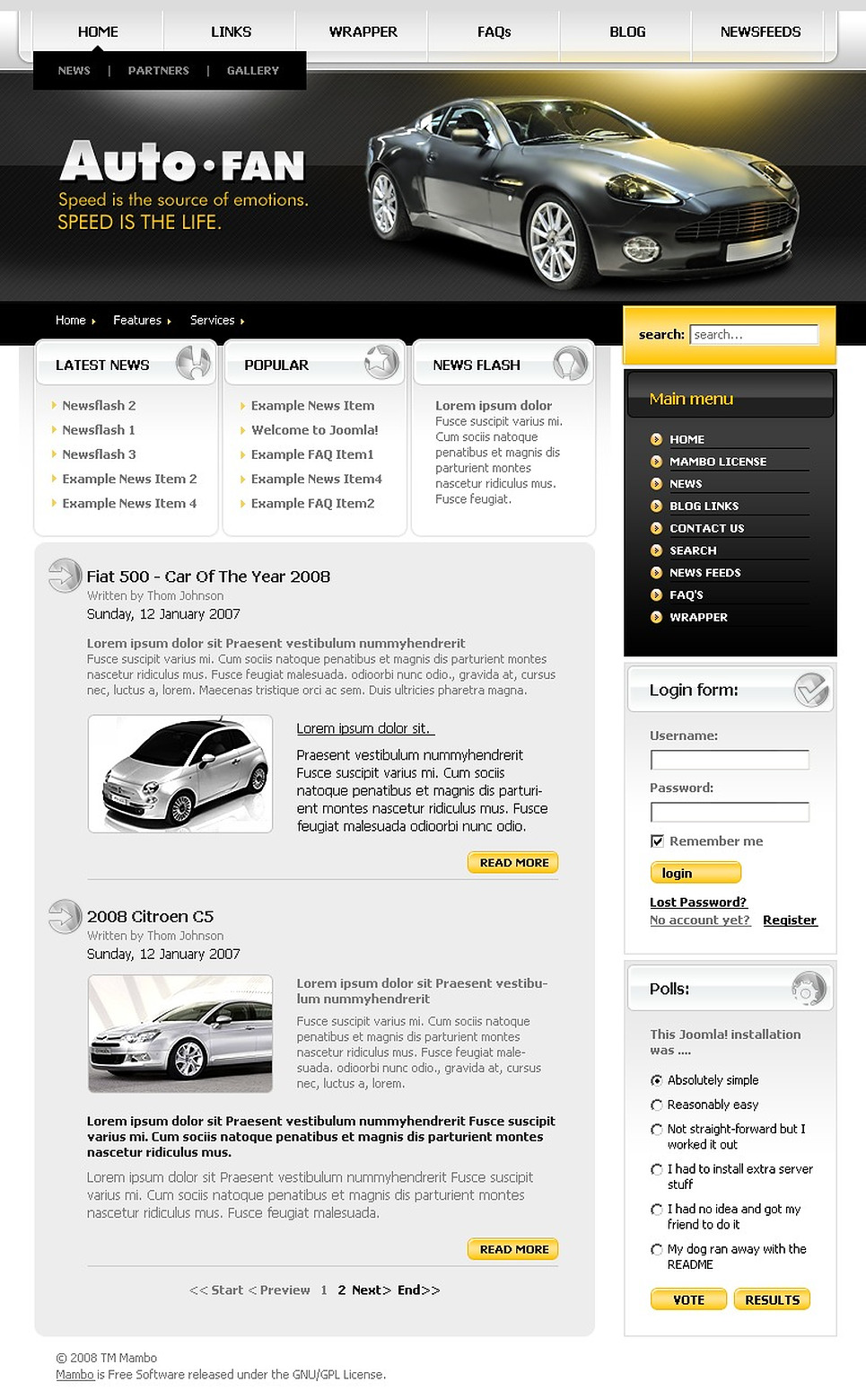 Car Club Mambo Template New Screenshots BIG