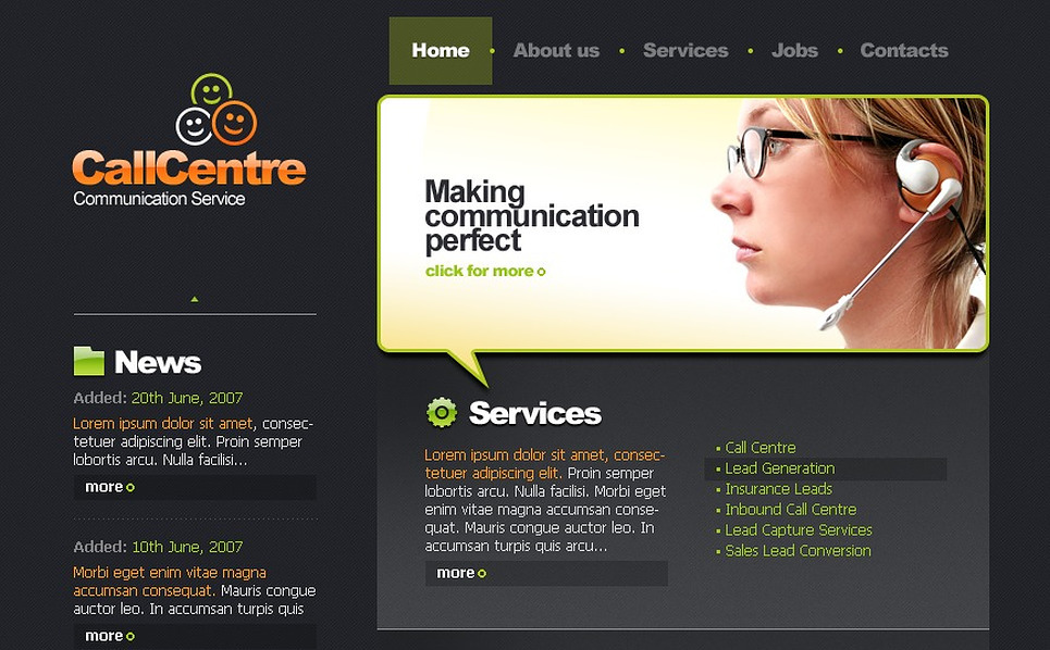 Call Center Website Template New Screenshots BIG