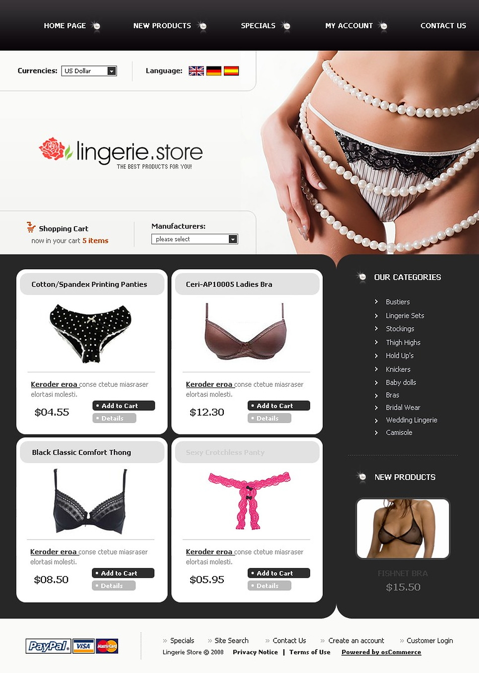 The Pearl White Lingerie Template