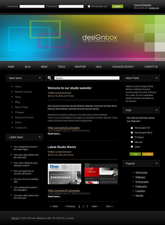 Design Studio Mambo Template New Screenshots BIG