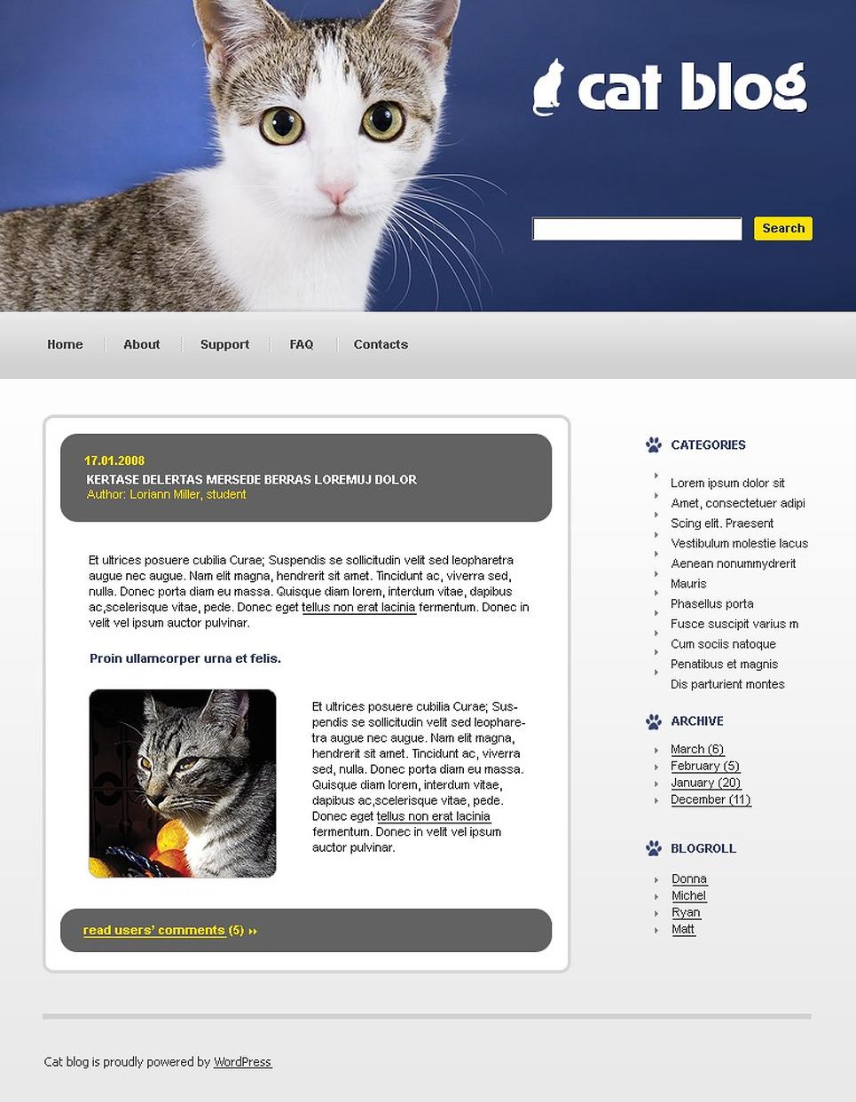 Cat WordPress Theme New Screenshots BIG