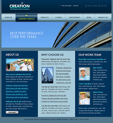 construction company profile template. Template Information