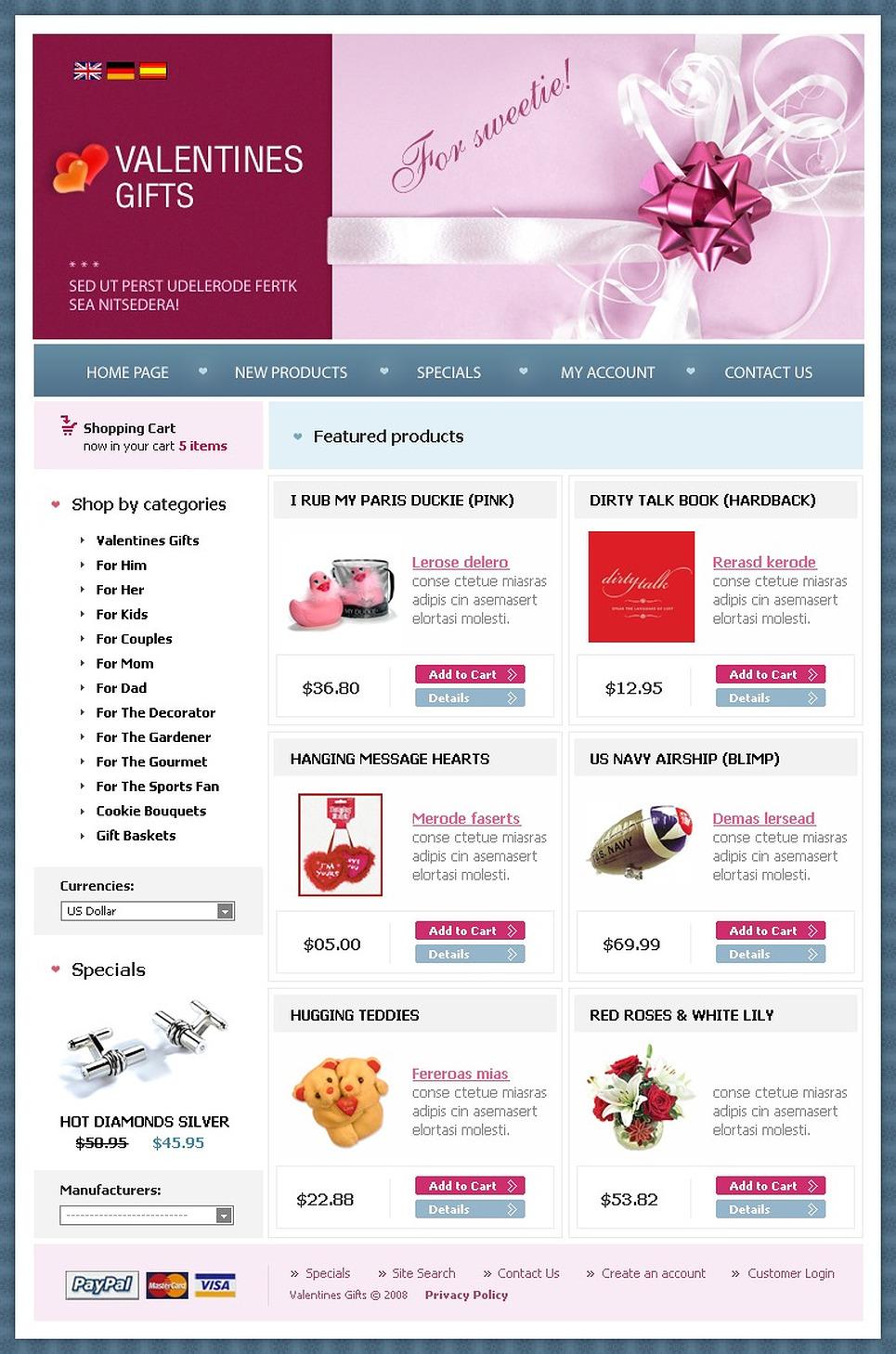 St. Valentine OsCommerce Template New Screenshots BIG