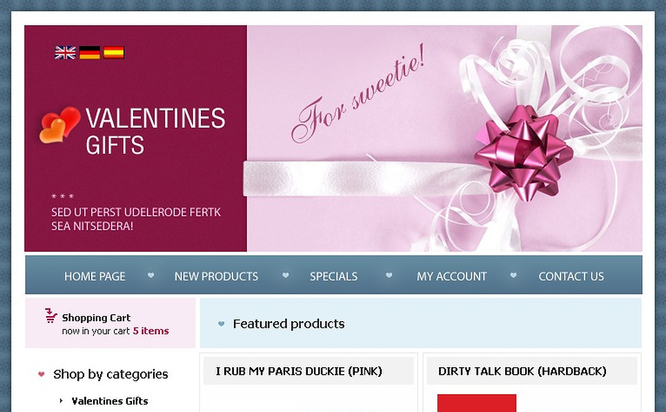 St. Valentine OsCommerce Template New Screenshots BIG