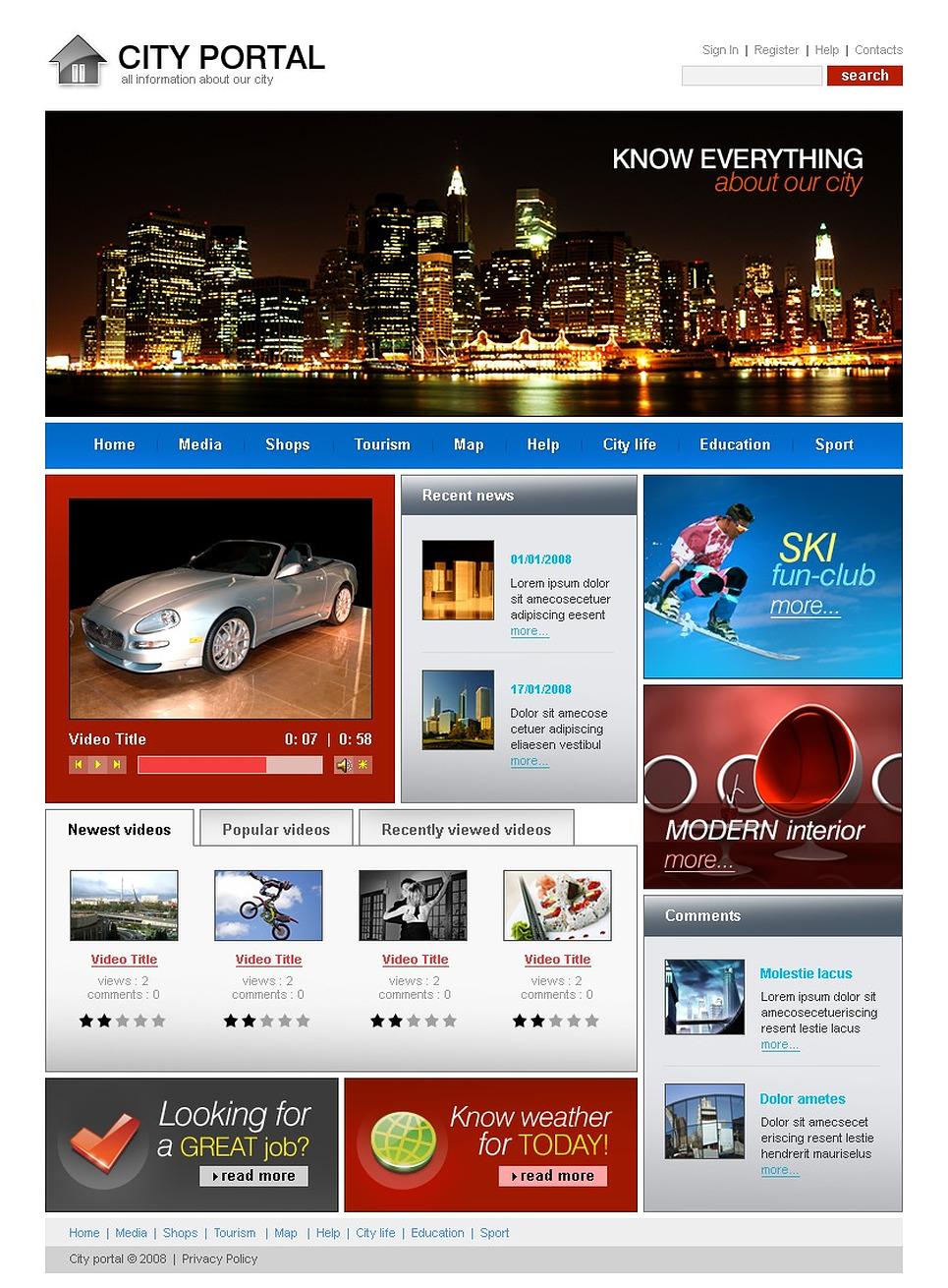 City Portal Website Template New Screenshots BIG