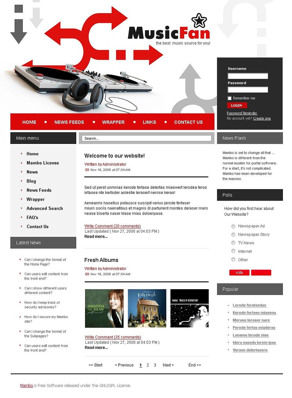Music Joomla Template New Screenshots BIG
