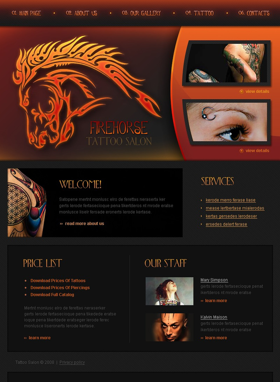 tattoo salon website template 18844. Black Bedroom Furniture Sets. Home Design Ideas