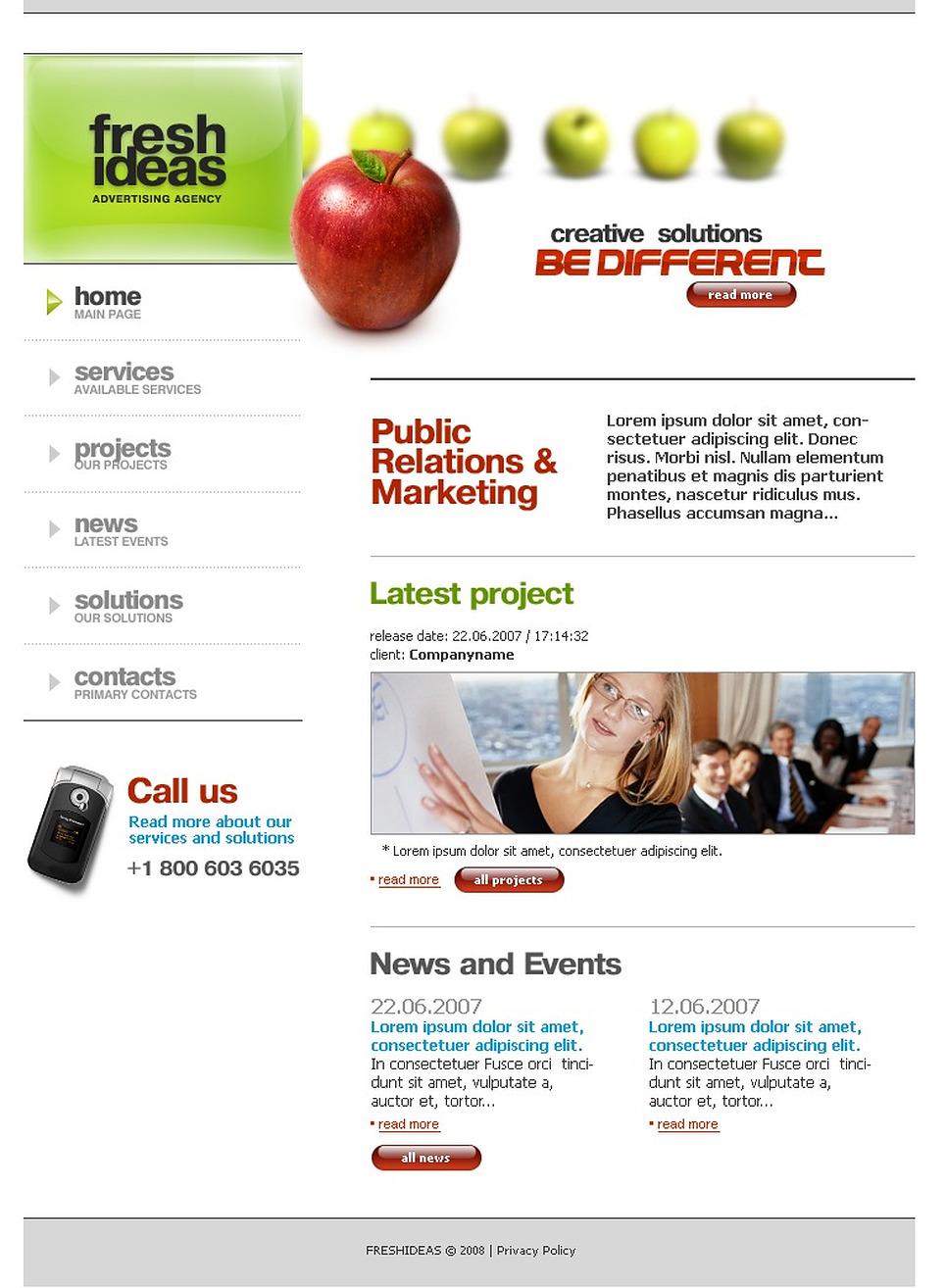 advertising agency website template 18918. Black Bedroom Furniture Sets. Home Design Ideas