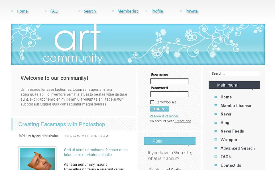 Art Web PhpBB Template New Screenshots BIG